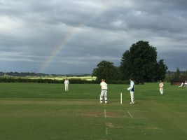 Skipper Bill Smith batting under a rainbow @ Cutteslowe, IVCC v VPs, July 2016